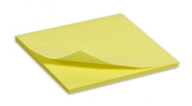 Χαρτάκια σημειώσεων αυτοκόλλητα Omega 75x100 mm κίτρινα - 1