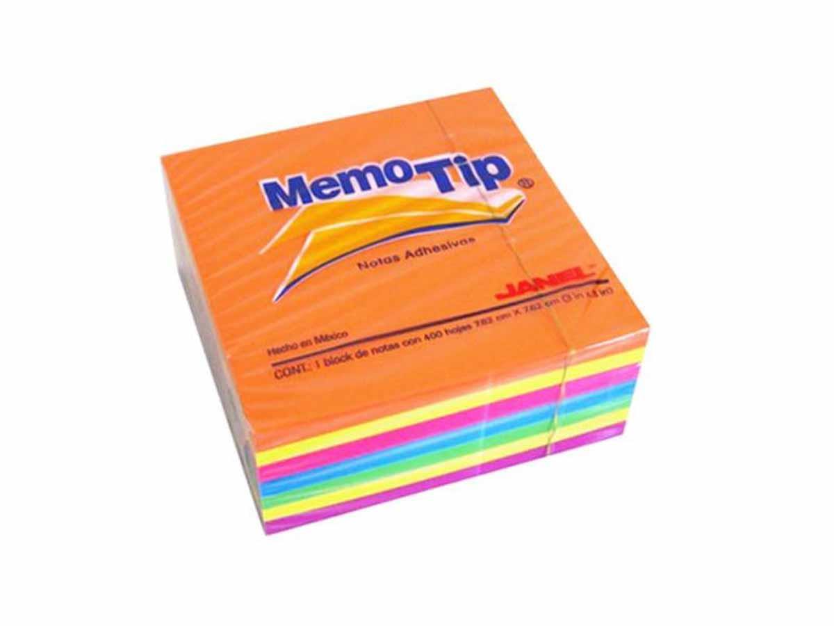 Κύβος σημειώσεων Memotip αυτοκόλλητος 76χ76 mm neon - 1